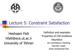 Lecture 5:  Constraint Satisfaction