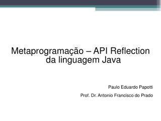 Metaprogramação – API Reflection da linguagem Java Paulo Eduardo Papotti