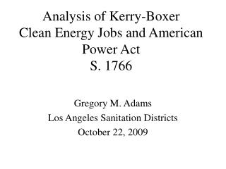 Analysis of Kerry-Boxer Clean Energy Jobs and American Power Act S. 1766