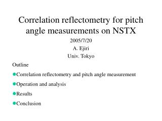 Correlation reflectometry for pitch angle measurements on NSTX