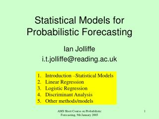 Statistical Models for Probabilistic Forecasting
