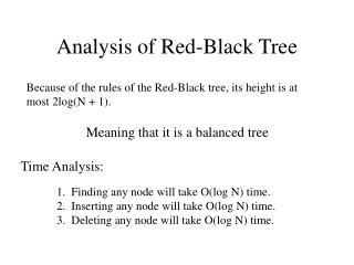 Analysis of Red-Black Tree