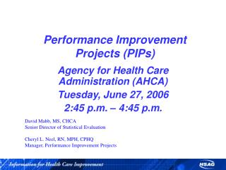 Performance Improvement Projects PIPs