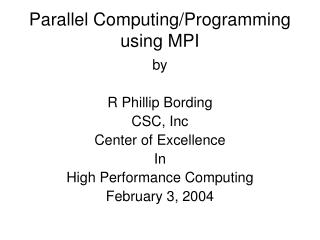 Parallel Computing/Programming using MPI