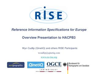 Reference Information Specifications for Europe Overview Presentation to HACPB3