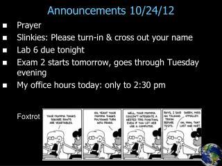 Announcements 10/24/12