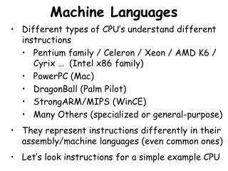 Machine Languages