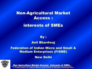 Non-Agricultural Market Access : interests of SMEs   By : Anil Bhardwaj