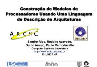Construção de Modelos de Processadores Usando Uma Linguagem de Descrição de Arquiteturas