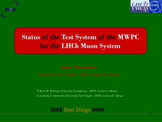Status of the Test System of the  MWPC for the LHCb Muon System