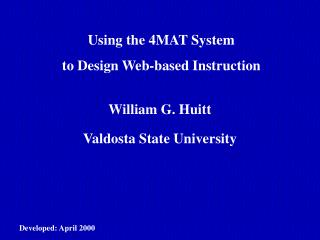 Using the 4MAT System to Design Web-based Instruction