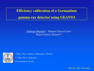 Efficiency calibration of a Germanium  gamma-ray detector using GEANT4