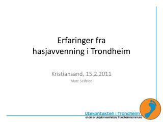 Erfaringer fra  hasjavvenning  i  Trondheim