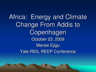 Africa:  Energy and Climate Change From Addis to Copenhagen