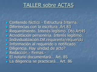 TALLER sobre ACTAS