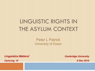 Linguistic Rights in the Asylum Context