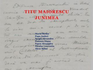Titu Maiorescu Junimea