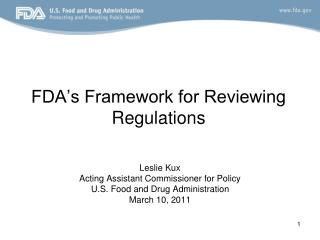 FDA's Framework for Reviewing Regulations