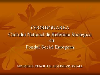 COORD O NAREA  C adrului  N ational de  R eferinta  S trategica cu Fondul Social European