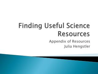 Finding Useful Science Resources