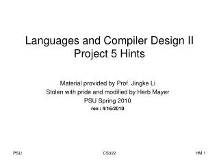 Languages and Compiler Design II Project 5 Hints