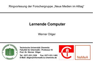"""Ringvorlesung der Forschergruppe """"Neue Medien im Alltag"""""""