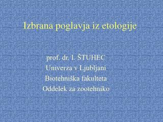 Izbrana poglavja iz etologije