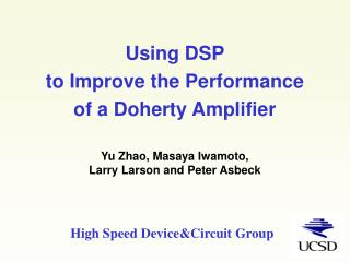 Using DSP  to Improve the Performance  of a Doherty Amplifier
