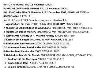 MASUK ASRAMA : TGL. 12 November 2008 PUKUL. 08.00  Wita BERANGKAT TGL. 12 November 2008