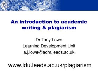 An introduction to academic writing  plagiarism