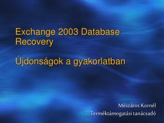Exchange 2003 Database Recovery  Újdonságok a gyakorlatban