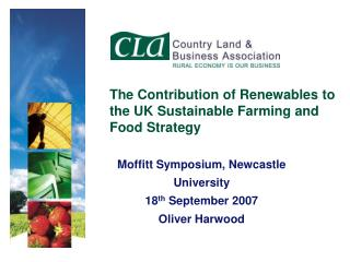 The Contribution of Renewables to the UK Sustainable Farming and Food Strategy