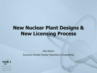 New Nuclear Plant Designs  New Licensing Process