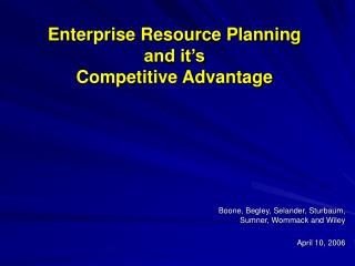 Enterprise Resource Planning and it�s Competitive Advantage