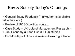 Env & Society Today's Offerings
