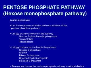 PENTOSE PHOSPHATE PATHWAY Hexose monophosphate pathway