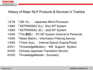 History of Major NLP Products & Services in Toshiba
