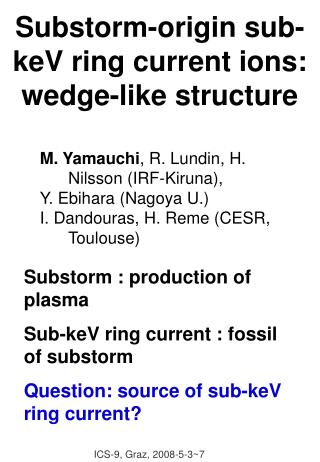 Substorm-origin sub-keV ring current ions: wedge-like structure