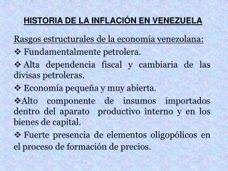 HISTORIA DE LA INFLACIÓN EN VENEZUELA