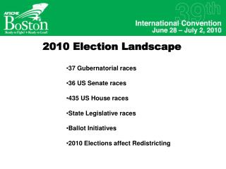 2010 Election Landscape