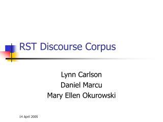 RST Discourse Corpus