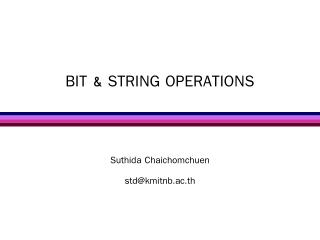 BIT & STRING OPERATIONS