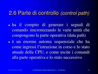 2.6 Parte di controllo  (control path)