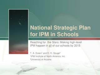 National Strategic Plan  for IPM in Schools