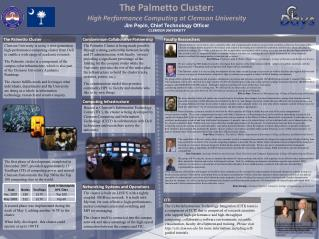 The Palmetto Cluster: High Performance Computing at Clemson University