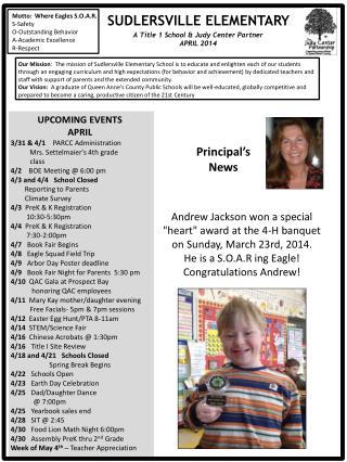 UPCOMING EVENTS APRIL 3/31 & 4/1     PARCC Administration Mrs. Settelmaier's 4th grade