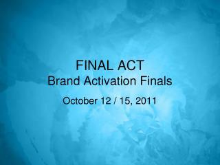 FINAL ACT Brand Activation Finals