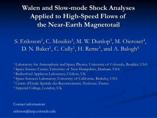 Walen and Slow-mode Shock Analyses  Applied to High-Speed Flows of  the Near-Earth Magnetotail