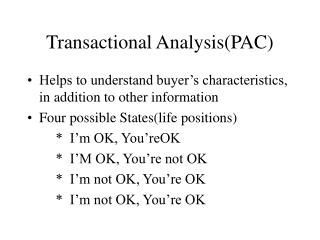 Transactional Analysis(PAC)
