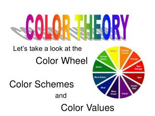 Let�s take a look at the           Color Wheel Color Schemes                         and